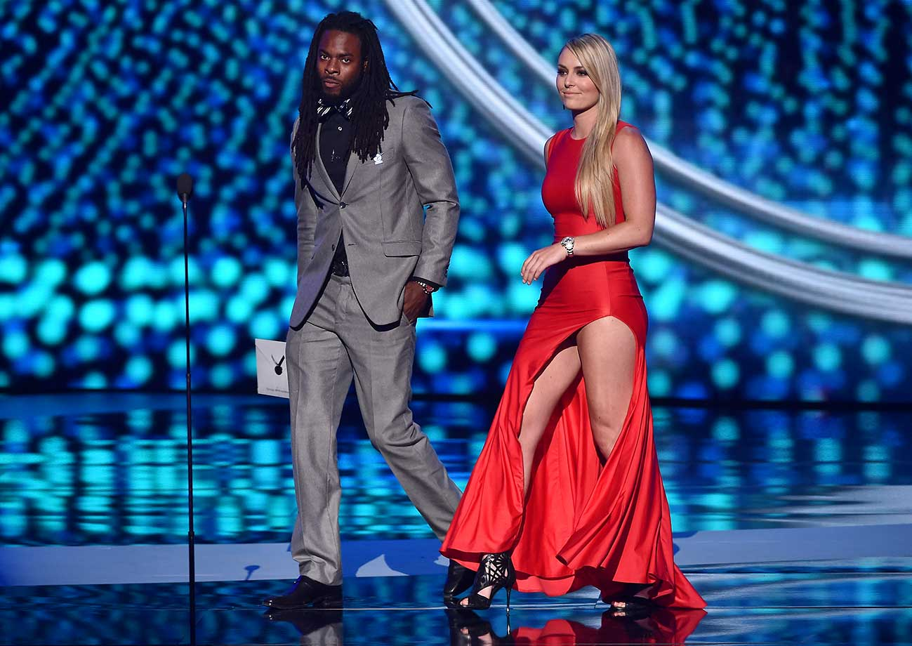 Richard Sherman and Lindsey Vonn onstage at The 2015 ESPYS.