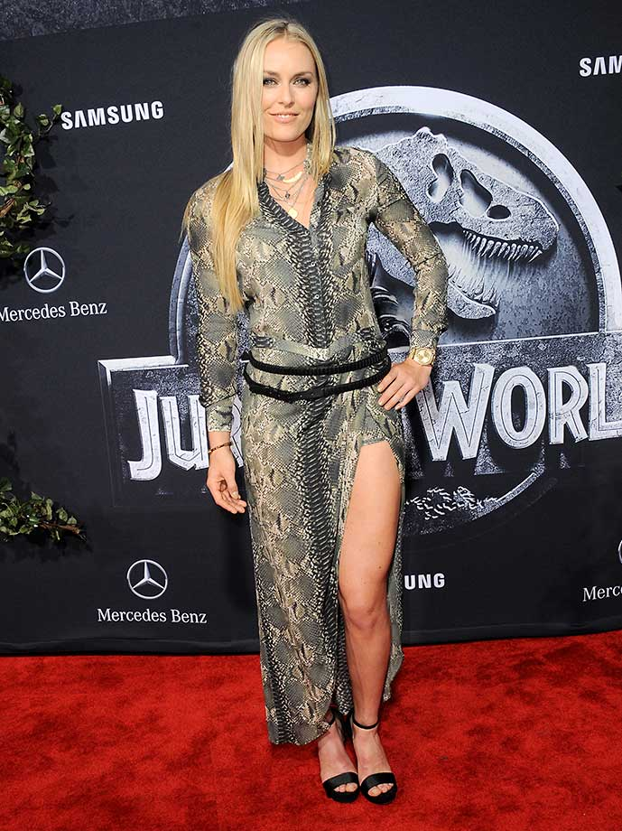 Lindsey Vonn arrives for the premiere of Jurassic World in Hollywood.