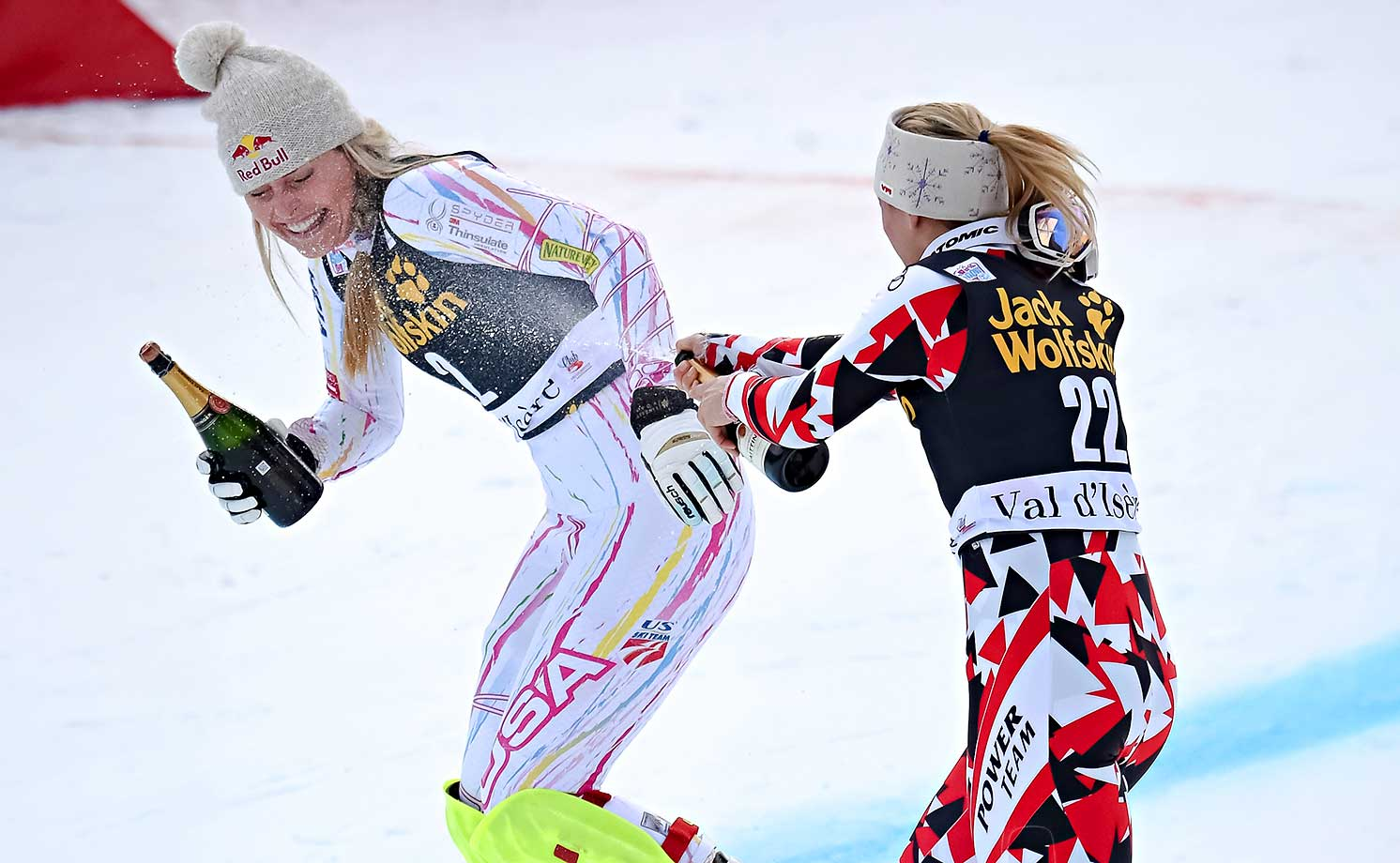 Lindsey Vonn joking around with Cornelia Huetter of Austriaat a December 2015 event in Val d'Isere, France.
