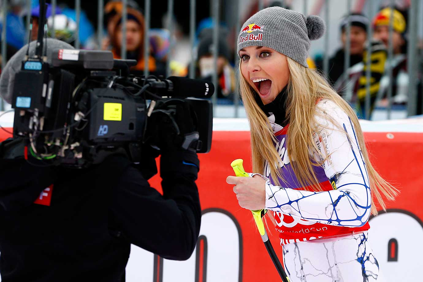 Lindsey Vonn after finishing first during the Alpine Ski World Cup Downhill on Jan. 09, 2016 in Austria.