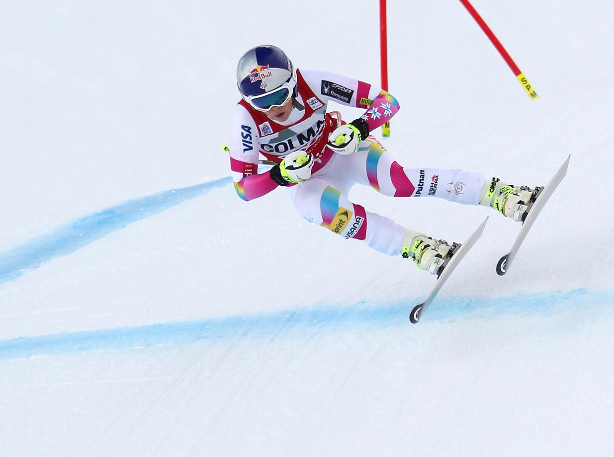 Lindsey Vonn of the U.S. takes first place during the Audi FIS Alpine Ski World Cup Downhill in Cortina d'Ampezzo, Italy.