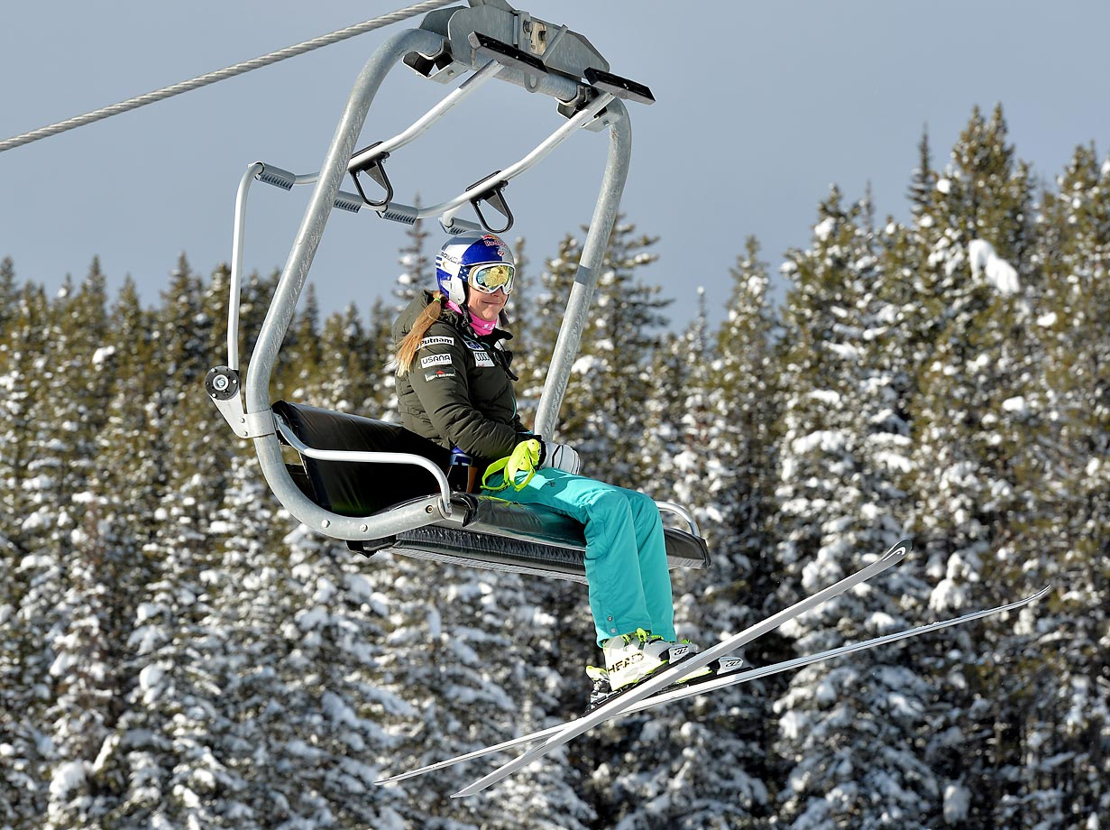 Lindsey Vonn rides the chairlift before competing in the first training session of the FIS World Cup at Lake Louise, Canada, on Dec. 2, 2014.