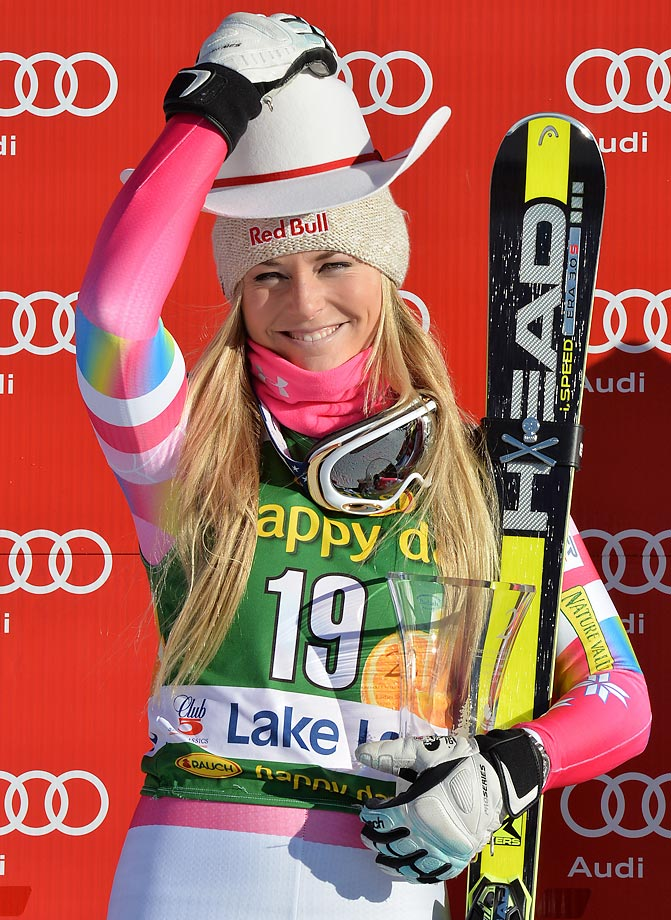 Lindsey Vonn celebrates after finishing second place in the Super-G race at the 2014 FIS World Cup.