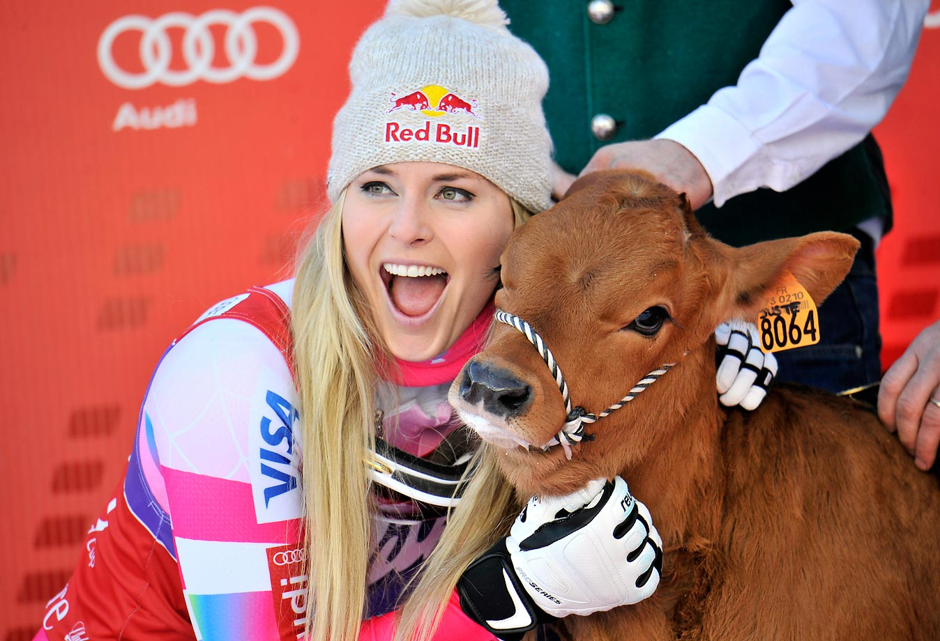 Lindsey Vonn took first place at the Audi FIS Alpine World Cup in December 2014 and won a cow named Winnie.