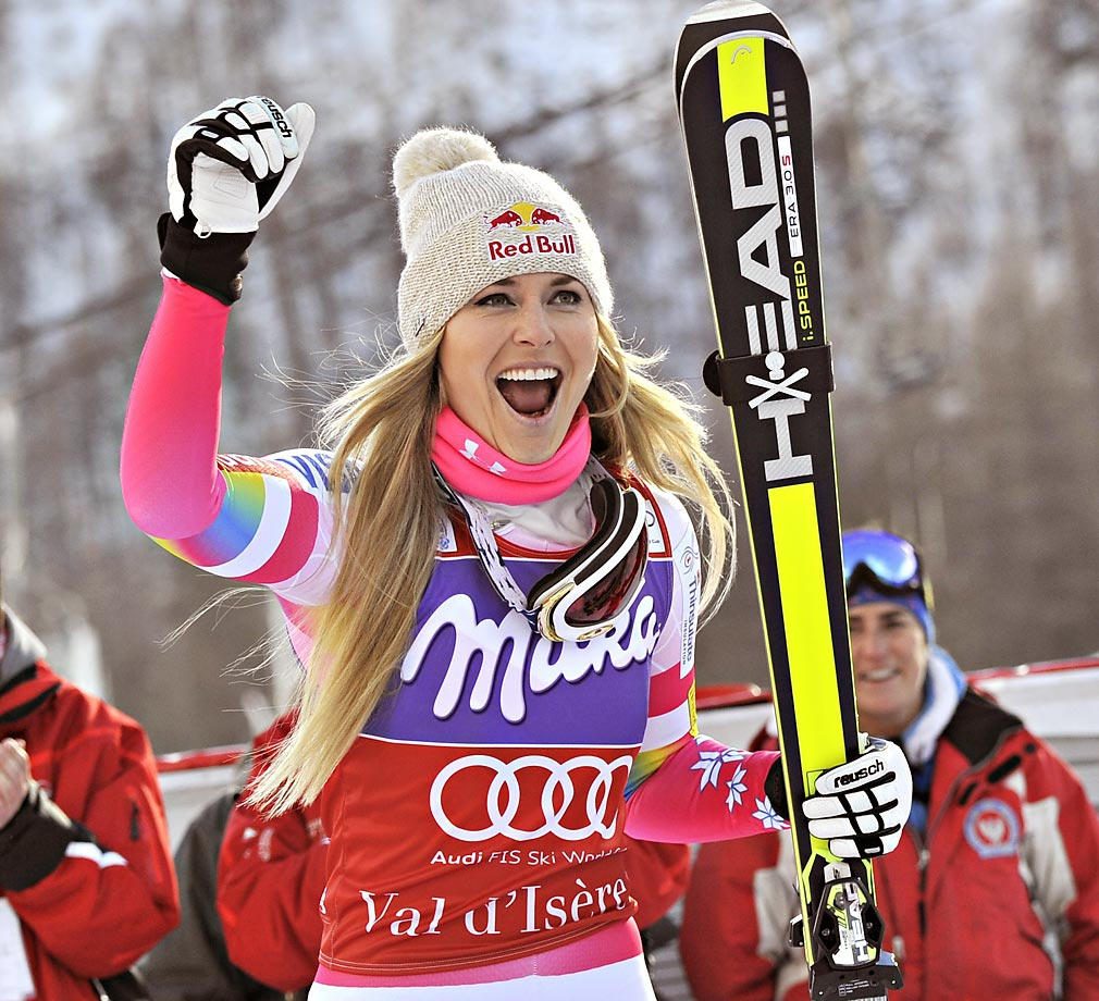Vonn takes 1st place at the Audi FIS Alpine Ski World Cup Downhill on Dec. 20, 2014 in Val-d'Isere, France.