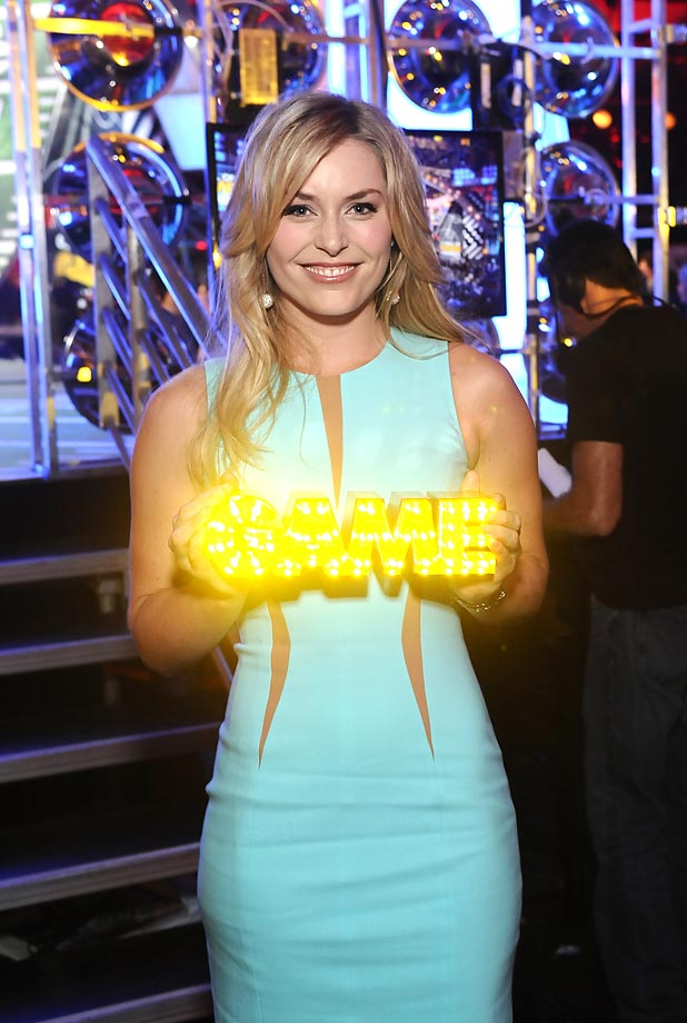 Lindsey Vonn holds her 2014 Queen of the Slopes award during Cartoon Network's fourth annual Hall of Game Awards at the Barker Hangar in Santa Monica, Ca.