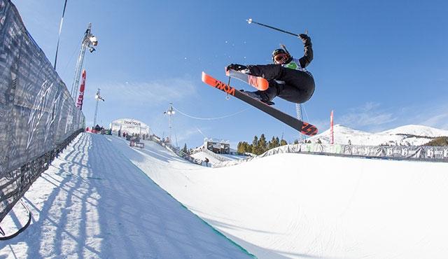 Maddie Boweman in the women's ski halfpipe semifinals.