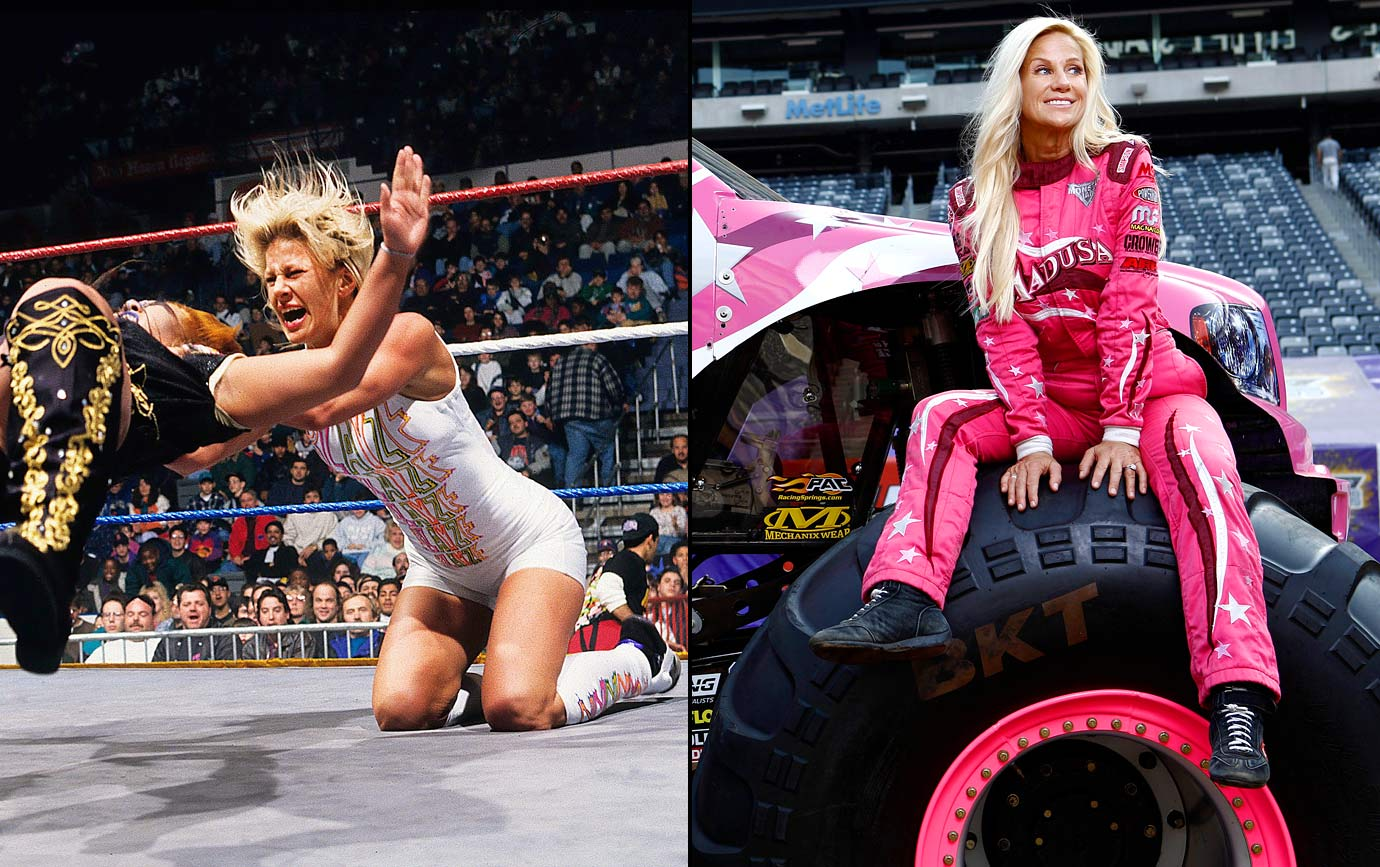 She was a menace on the mat, using her physical style to win three titles. Madusa's been no less successful on the Monster Jame circuit. Though she's now blazing trails on dirt tracks rather than on wrestling mats, Madusa's as dominant as ever.