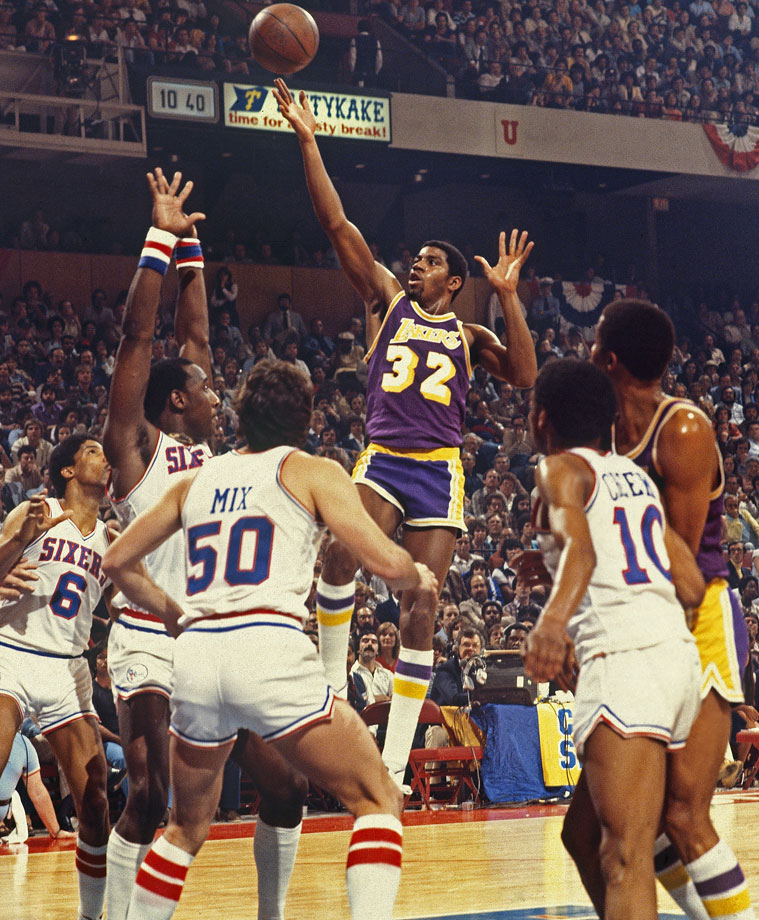 MVP center out hurt in the championship series?  No problem.  Just put the rookie point guard in the middle.  In Game 6 of the 1980 NBA Finals, Magic set the tone for the rest of his career, scoring 42 and grabbing 15 boards in place of Kareem Abdul-Jabbar as the Lakers took the title.