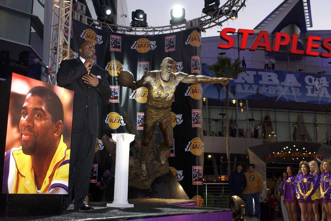 Displayed outside Staples Center in Los Angeles.