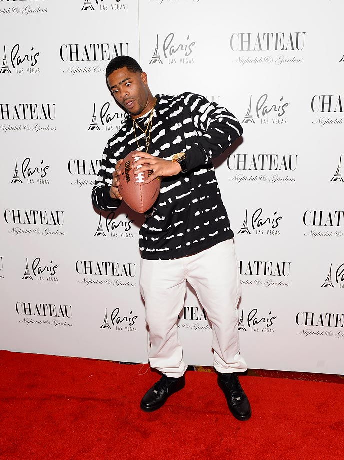 Malcolm Butler of the New England Patriots celebrating his game winning interception at a championship party at the Chateau Nightclub & Rooftop at the Paris Las Vegas… or, maybe he's just checking the air pressure.