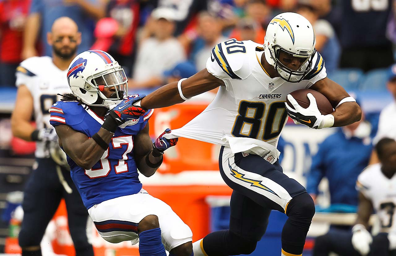 Buffalo Bills defensive back Nickell Robey grabs the jersey of San Diego Chargers wide receiver Malcom Floyd.