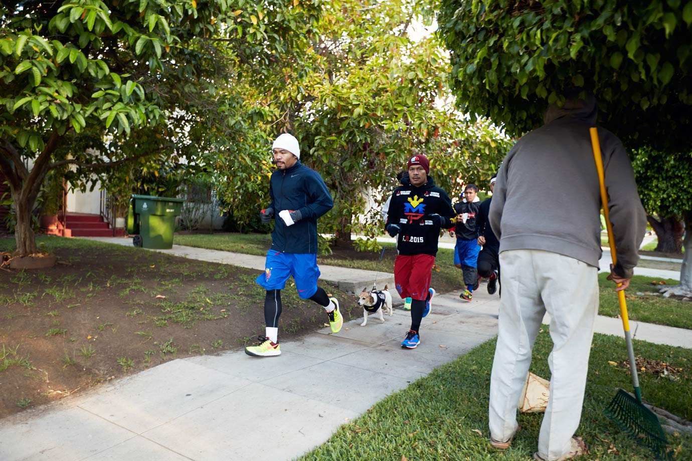 To help stave off the tedium of training camp, the ever-sociable Manny Pacquiao takes his workouts to the streets—well, at least to the sidewalks, playgrounds and stadiums—of Los Angeles.