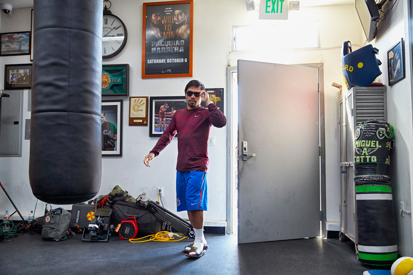 Back in his private gym, though, Pacquiao is happy to train away from the glare.