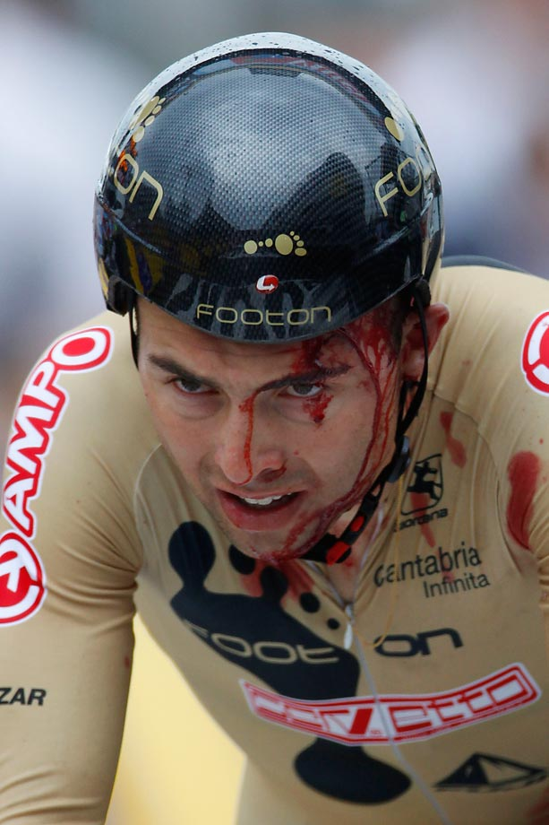 Over before it began: On the first day of his first Tour de France, Manuel Cardoso of Portugal overcooked a corner in the 8.9 km prologue and fell heavily, breaking his jaw and collarbone, ending his Tour before the first road stage.