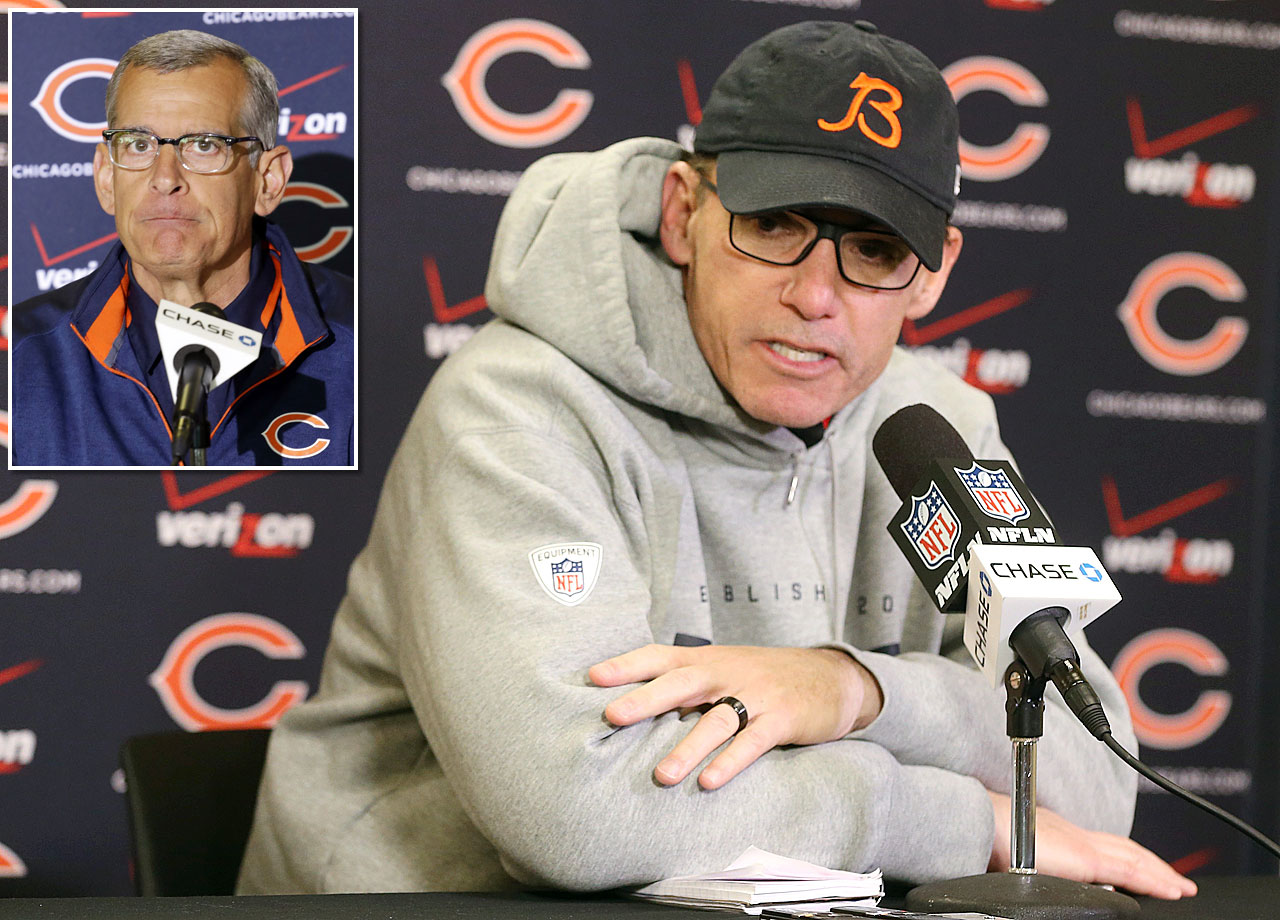The Chicago Bears fired head coach Marc Trestman, who went 13-19 in two seasons with the team, and general manager Phil Emery (inset) on Monday Dec. 29. After the Bears' Week 17 loss, Trestman told reporters he expected to return to the team next season. Emery had been the Chicago's general manager since 2012. The Bears compiled a 23-25 record during his tenure. After going 10-6 in 2012, the Bears regressed each of the last two seasons, finishing 8-8 in 2013 and 5-11 in 2014.  The Bears' defense struggled throughout the season, finishing No. 30 in the league in yards and No. 31 in points allowed.  The Bears finished the season with a five-game losing streak, including a season-ending loss to the Minnesota Vikings.