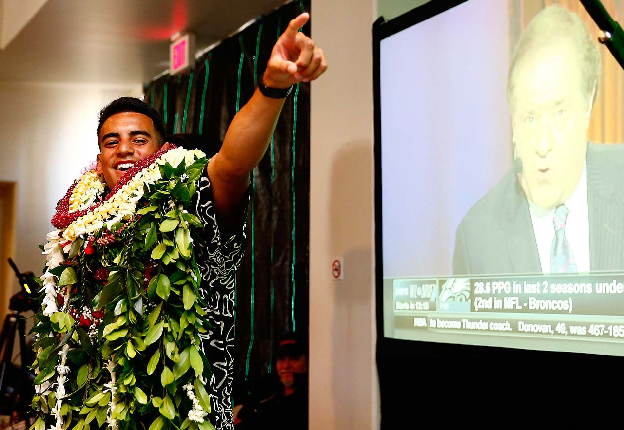 Marcus Mariota at his draft party in Honolulu.