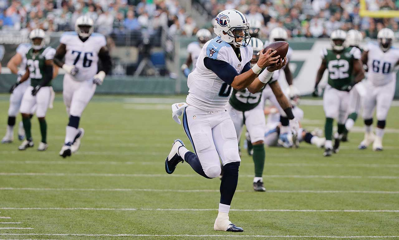 Just one week after he had the third-longest touchdown run by a quarterback in NFL history, Tennessee rookie Marcus Mariota added a rare QB touchdown reception on Dec. 13 when he hauled in this 41-yard pass from running back Antonio Andrews against the New York Jets.