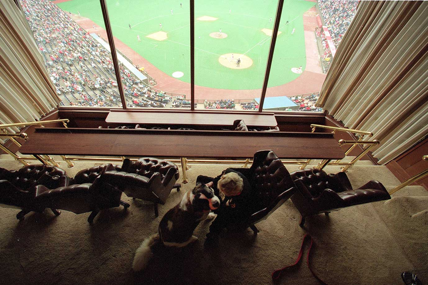 Former Cincinnati Reds owner Marge Schott in her luxury box at Riverfront Stadium.