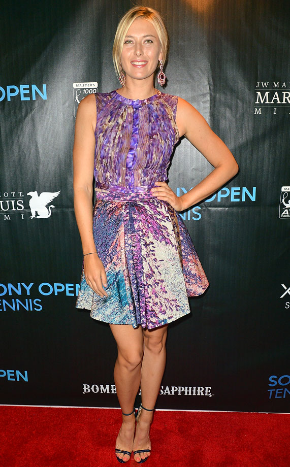 We're heading into fall, but Maria Sharapova looks ready for spring in a lilac J. Mendel dress.