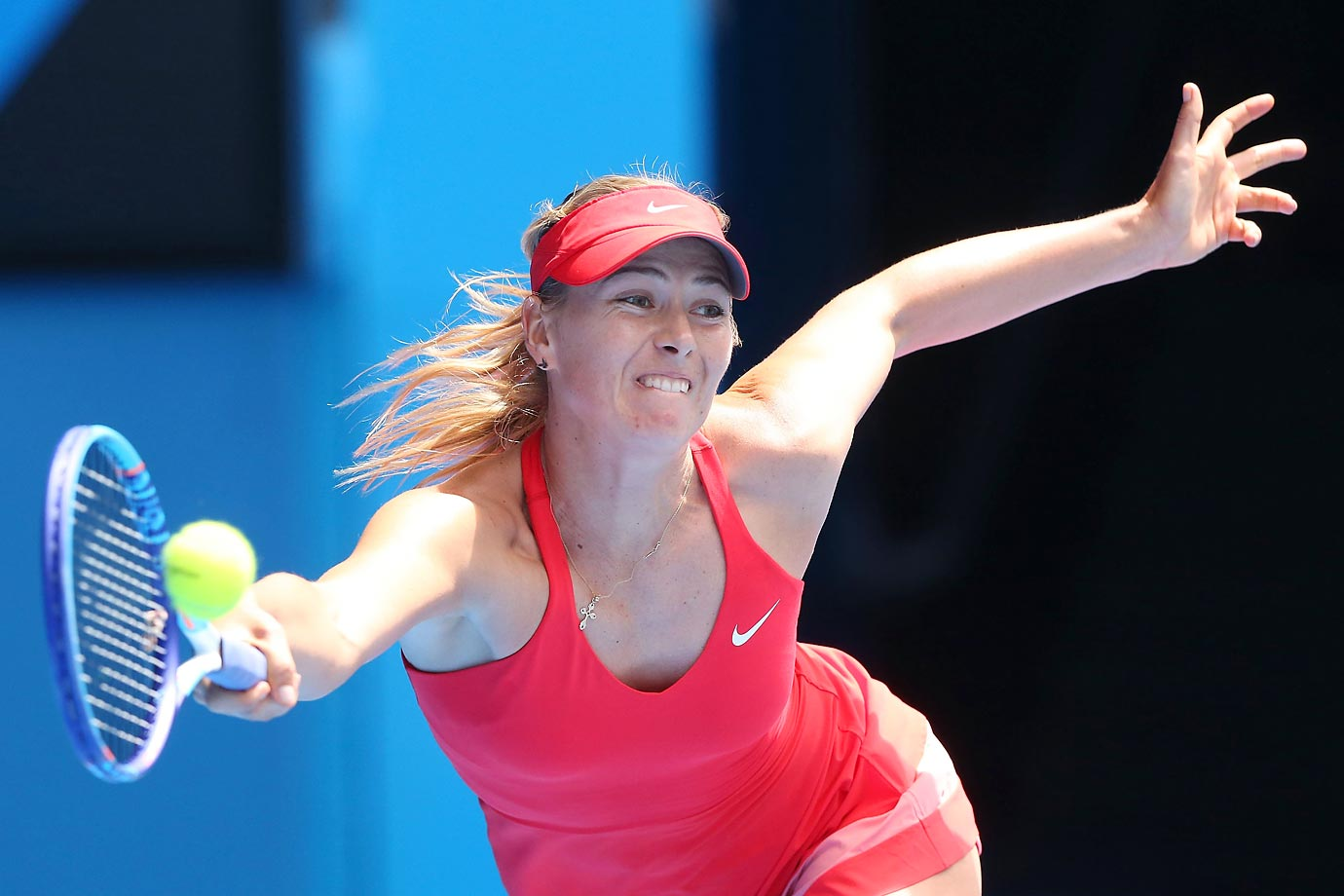 Maria Sharapova of Russia plays a forehand in her semifinal victory over Ekaterina Makarova of Russia at the Australian Open.