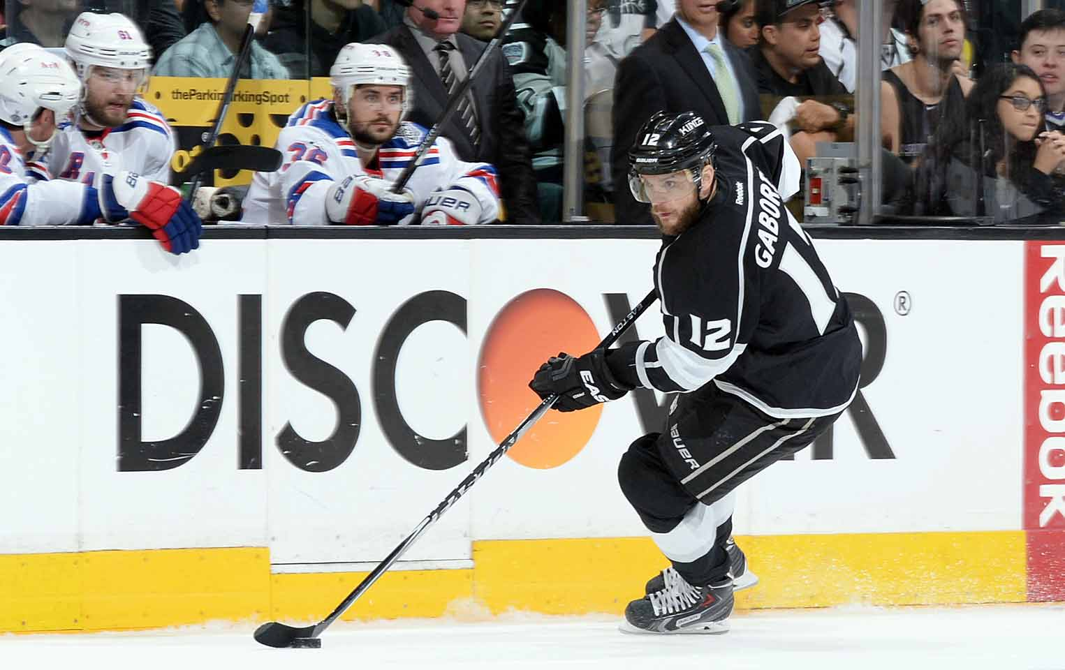Seeking offensive punch, the Kings acquired the talented but oft-injured sniper from Columbus on March 5, 2014 for forward Matt Frattin and two draft picks. Gaborik, who had six goals and 14 points in 34 games during a regular season marred by a broken collarbone, proved to be the tonic that L.A. needed. He went on the lead the NHL in postseason goals (14), the most by a King in one playoff year since Wayne Gretzky, and became the first player ever to score a tying goal in the final 10 seconds of regulation and then win a playoff game in overtime (vs. Anaheim) as the Kings rolled to their second Stanley Cup in three years.
