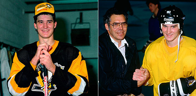 The fledgling Penguin with his father Jean-Guy Lemieux.