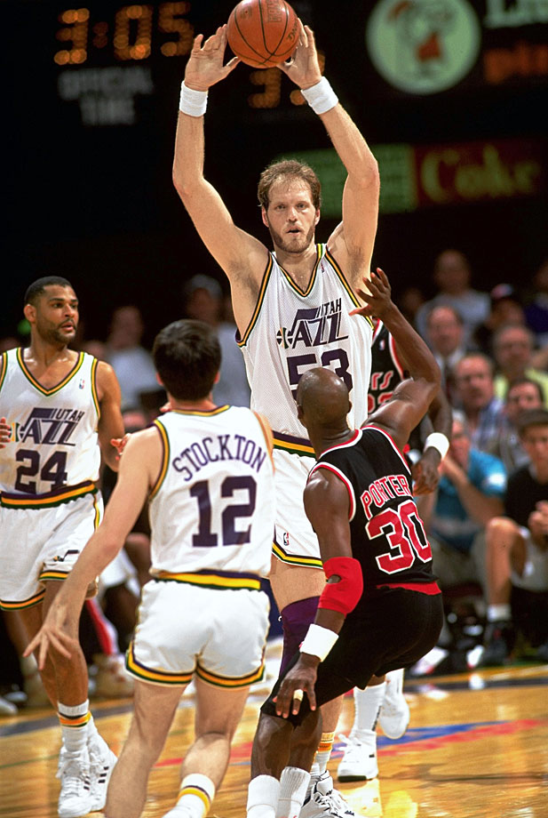 A two-time Defensive Player of the Year, Eaton wreaked havoc around the rim for the Jazz from 1982-1993. He led the league in blocks four times and had his No. 53 retired by the franchise.