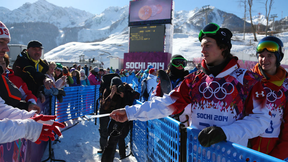 Though Canadian Mark McMorris signed autographs after the slopestyle event, there were a lot of empty seats in the stands during the discipline's debut.