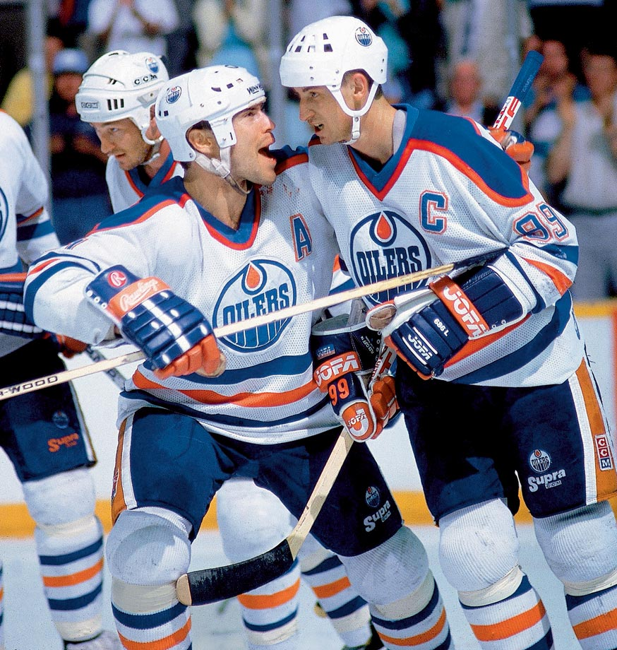 The smolderingly intense Messier and the otherworldly, cerebral Gretzky were the cornerstones of the Oilers teams that won four Stanley Cups in five years (1984-88). With Gretzky routinely shattering scoring records, Messier's edgy ''win-or-else'' leadership gave Edmonton the grit and fire it needed to become a dynasty. Though the Great One was famously traded to Los Angeles in 1988, the duo was later reunited for a season with the New York Rangers in 1996-97.