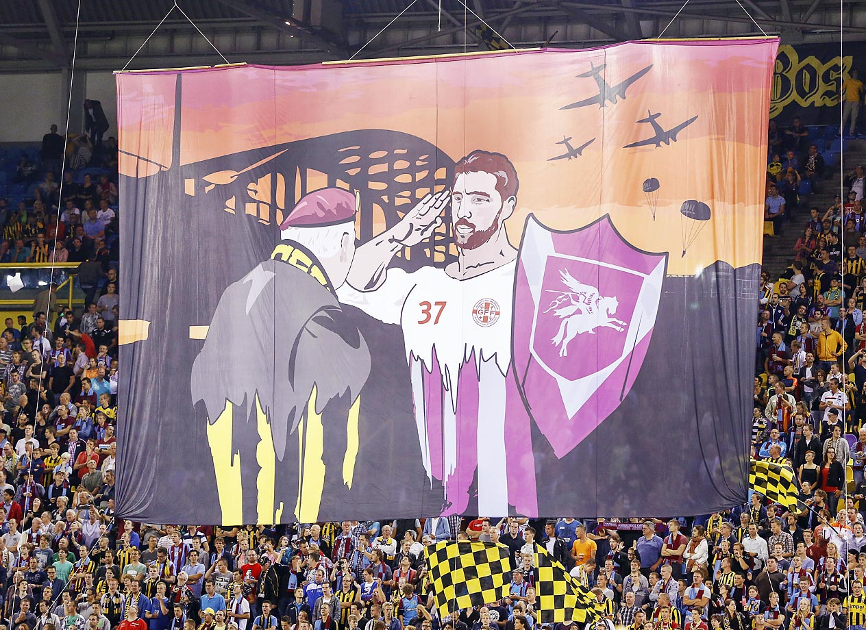 Vitesse fans pay homage to Operation Market Garden ahead of an Eredivisie match against SC Heerenveen.