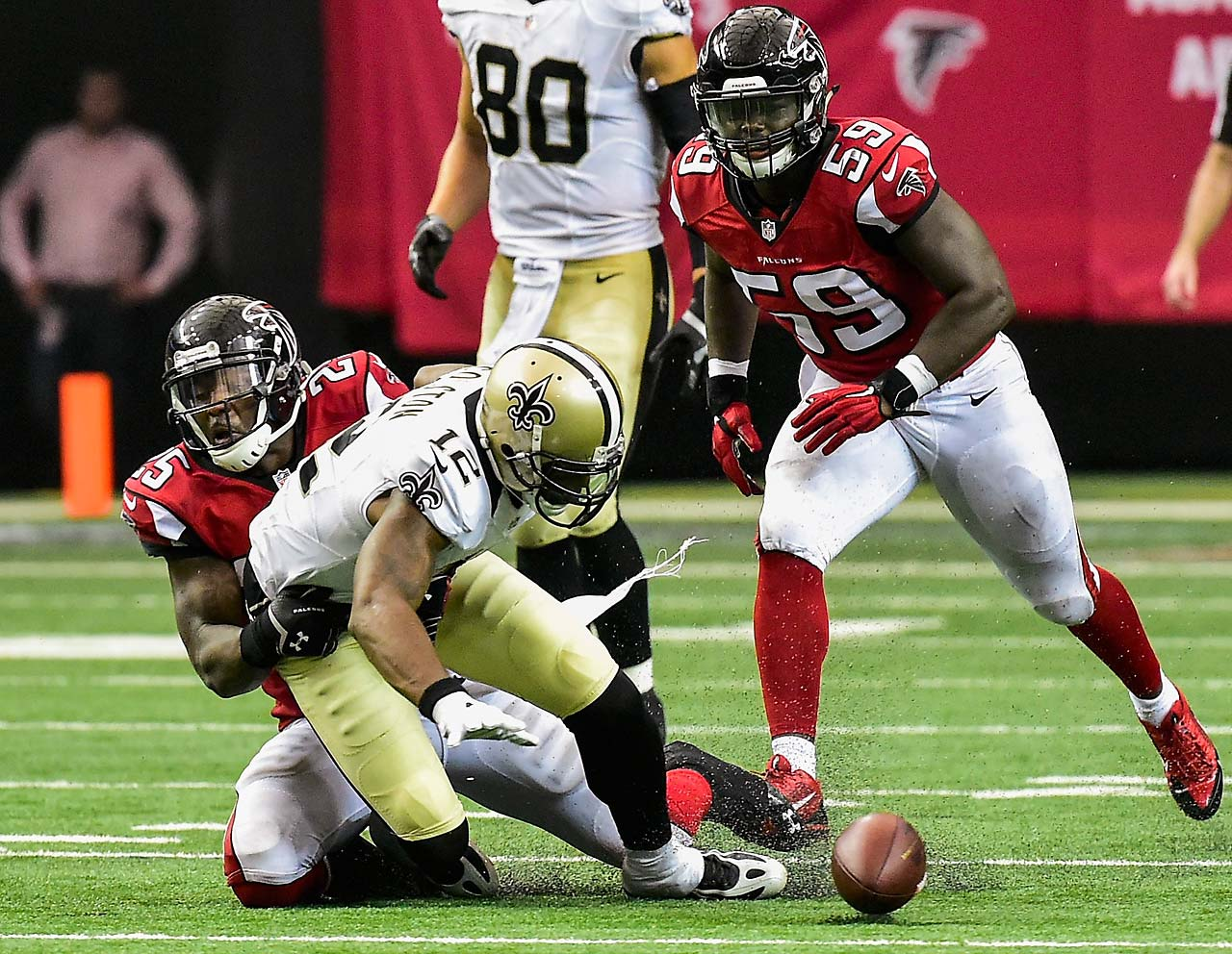 Marques Colston lost this fumble in overtime, leading to a game-winning scoring drive by the Falcons.