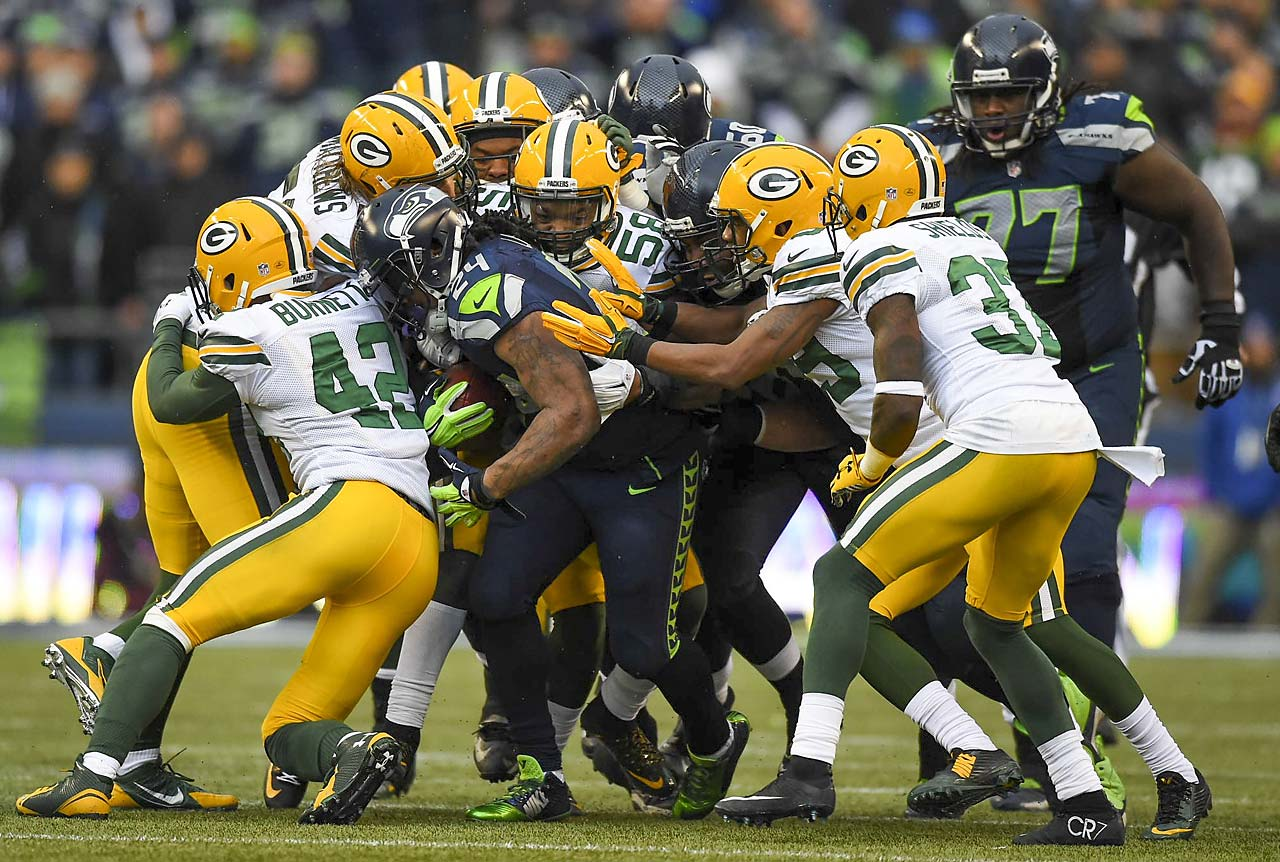 Marshawn Lynch ran the ball 25 times for 157 yards with one touchdown and had one reception for 26 yards.