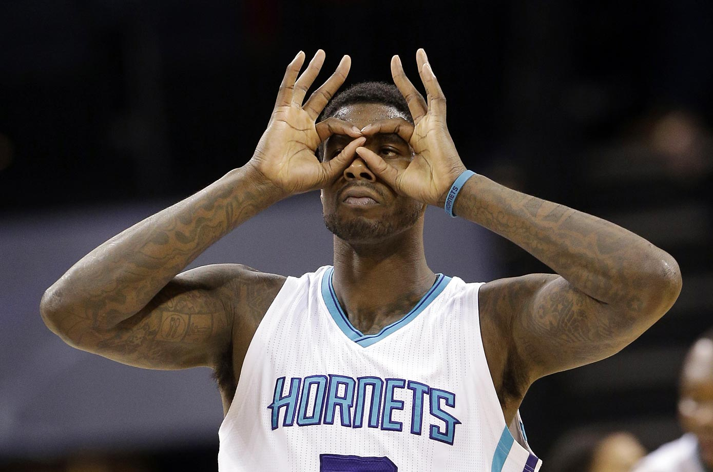 Marvin Williams of the Charlotte Hornets makes a 3-point basket against the Washington Wizards. The Hornets won 94-87.