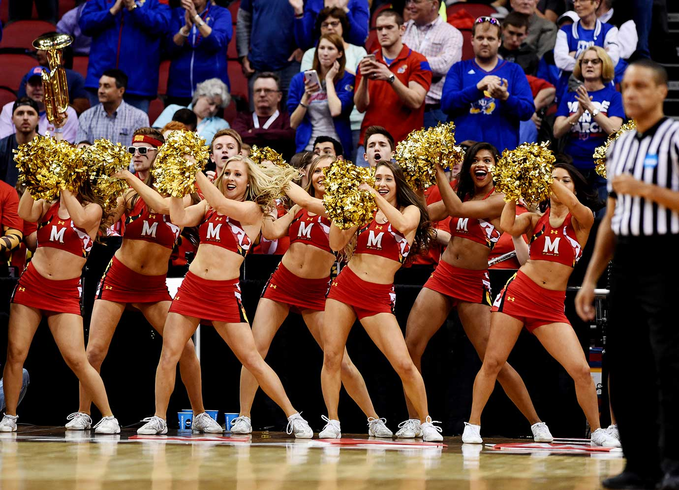The Maryland cheerleaders during the game against Kansas.