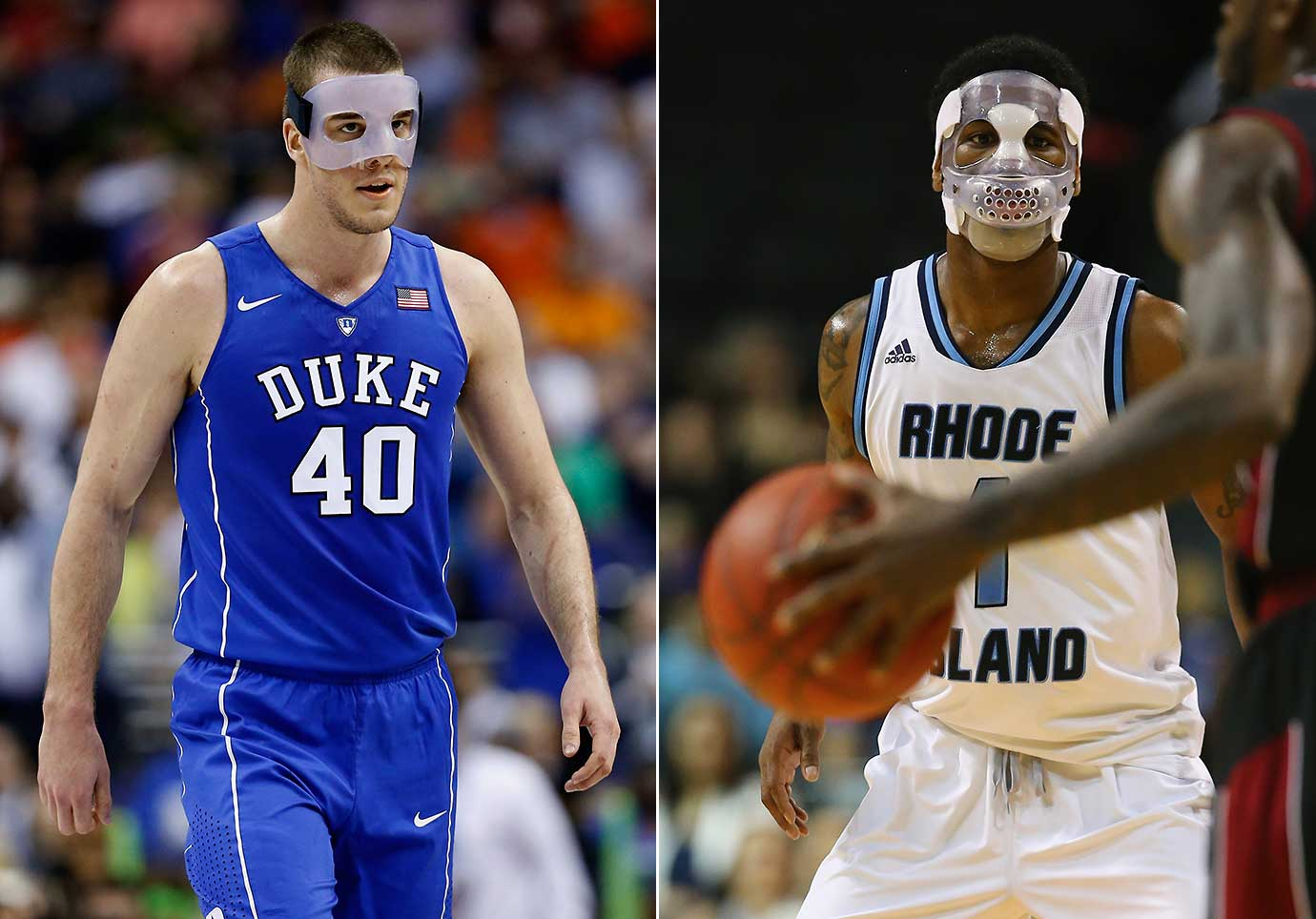 Marshall Plumlee wore a mask to protect a broken nose Thursday while Jarvis Garrett donned one because of a jaw injury as their teams tried to earn automatic bids to the NCAA tournament.