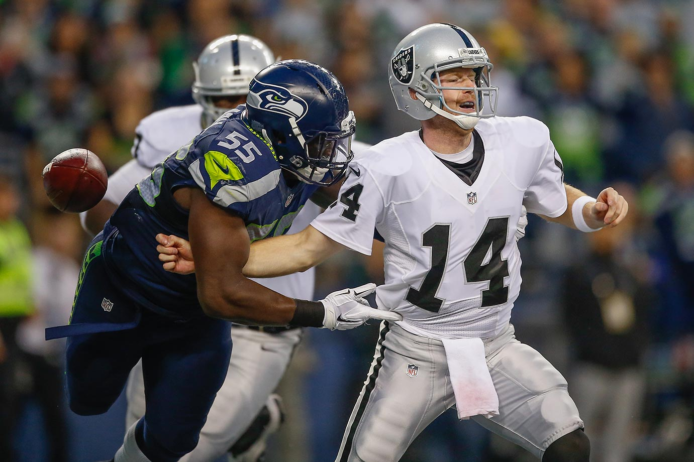 Matt McGloin is sacked in the endzone by defensive end Frank Clark.