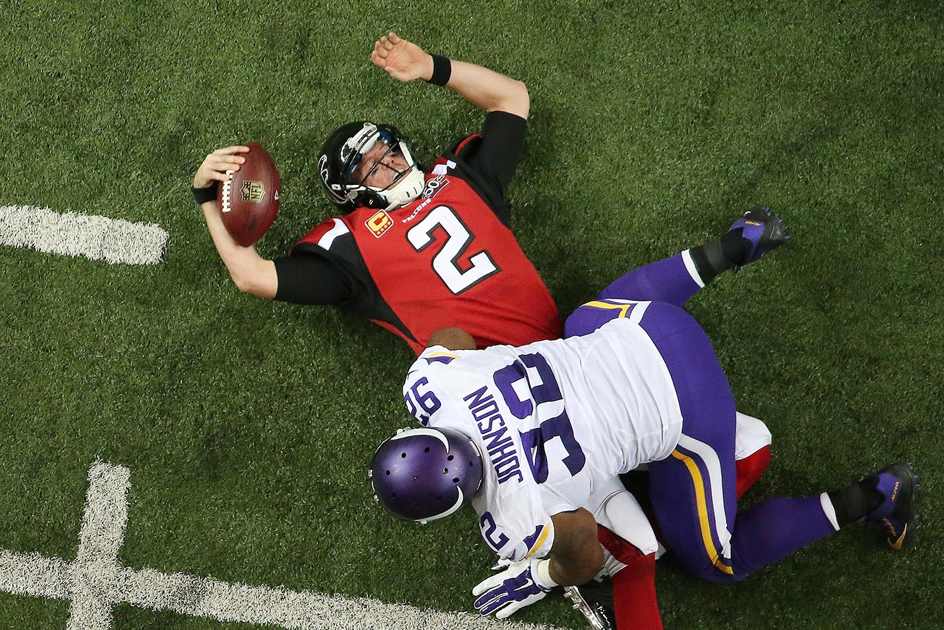Matt Ryan of the Atlanta Falcons after being sacked by the Minnesota Vikings.