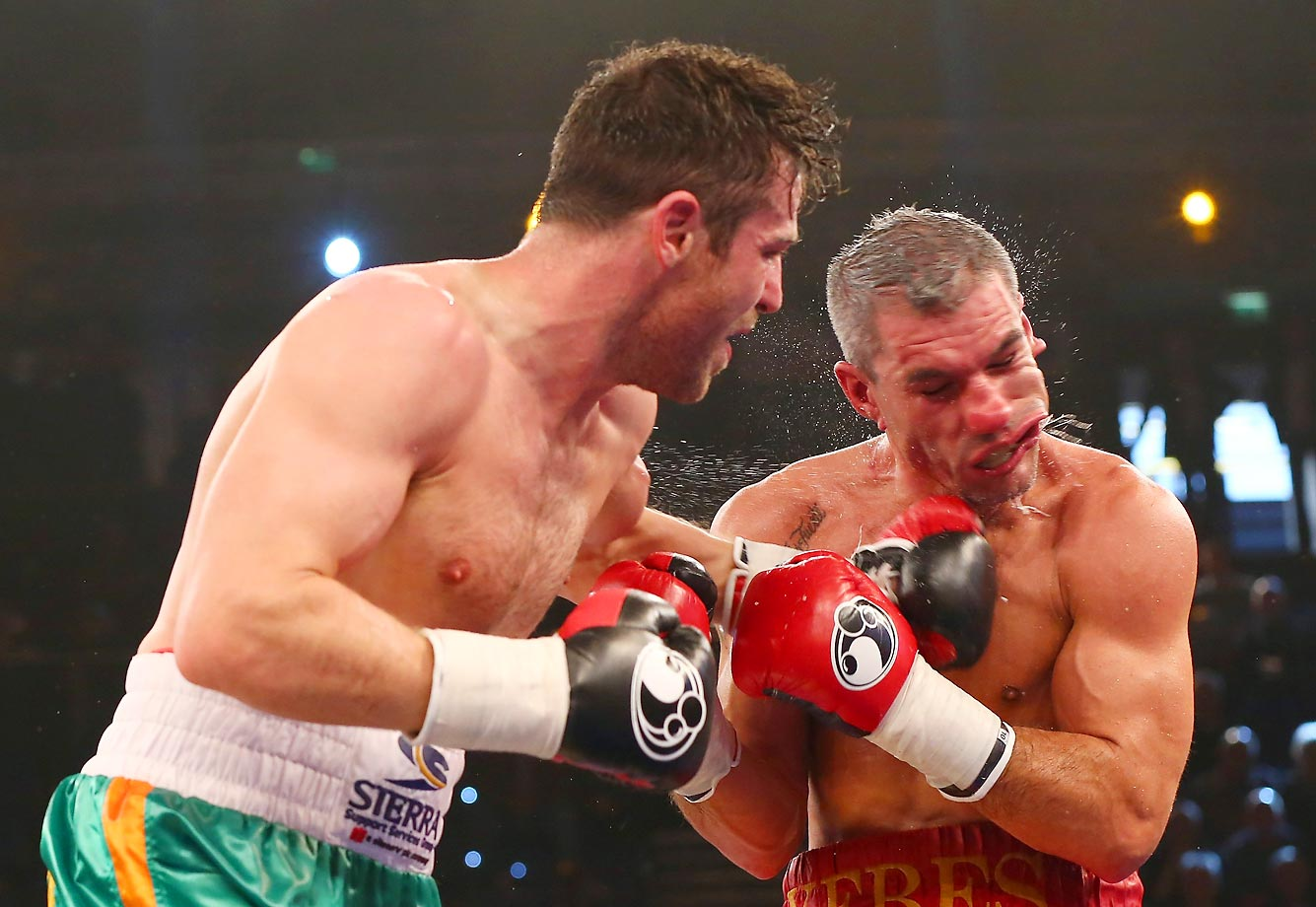 Great Britain's Matthew Macklin throws a punch at Spain's Jose Yebes during their middleweight fight.