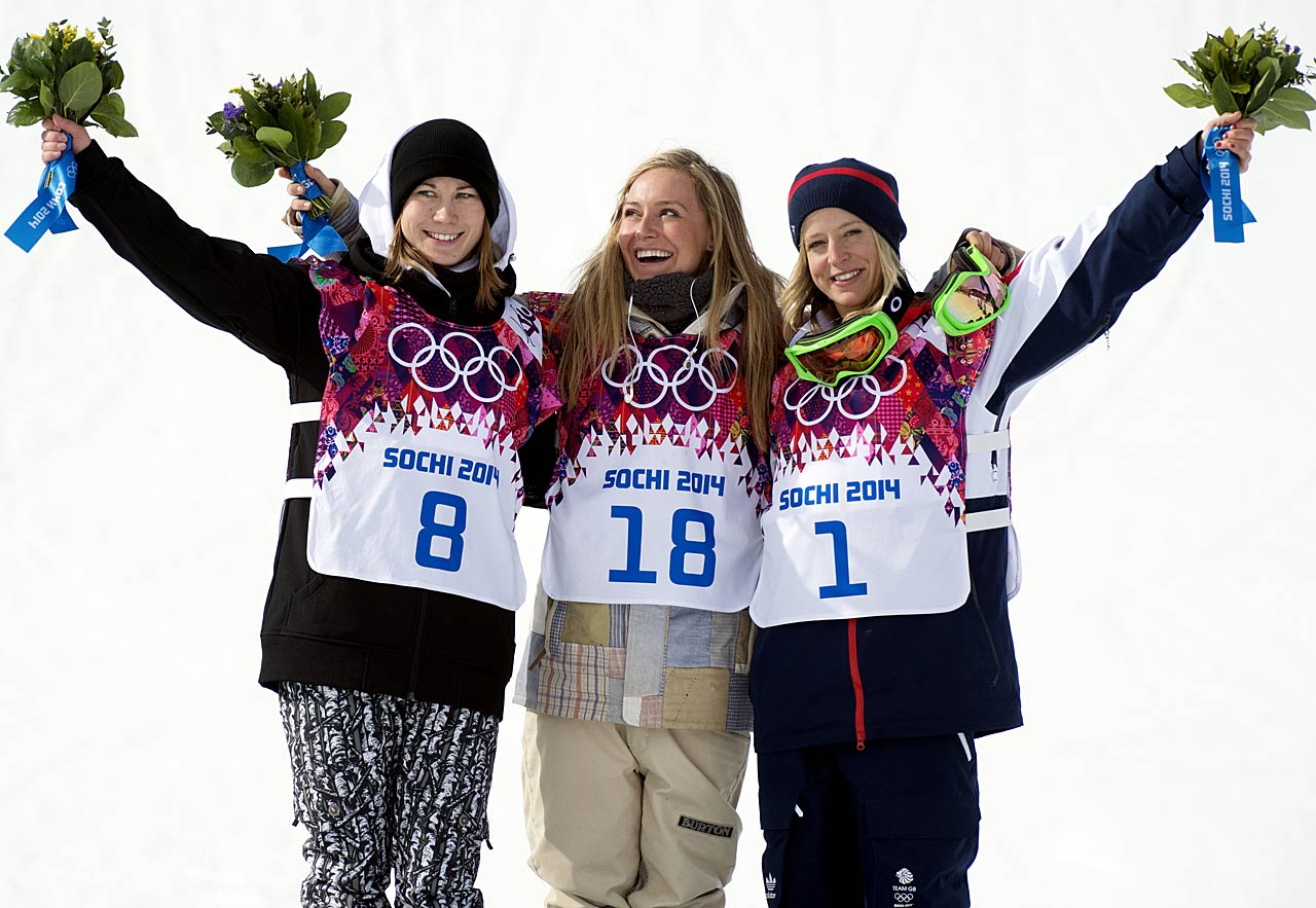 Silver medalist Enni Rukajarvi of Finland, gold medalist Jamie Anderson of the United States and bronze medalist Jenny Jones of Great Britain pose on the podium.