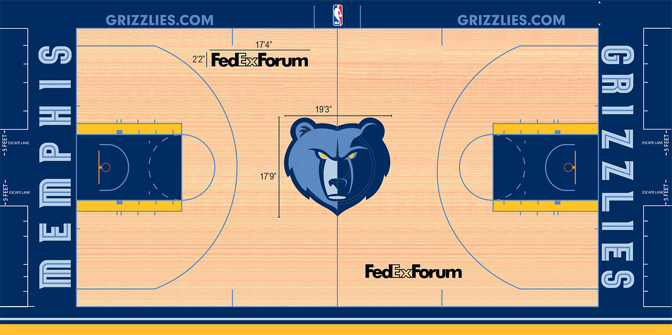 Dark blue fills the paint, extends to the baseline and apron and even matches the Grizzlies logo at center court. A touch of yellow in the key's box area helps offset the blue and using light blue for the fashionable font on the baseline and for the lines on the floor offer a nice touch.