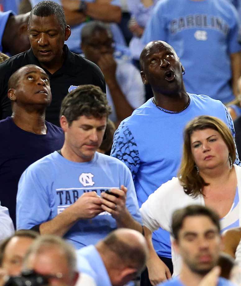 North Carolina alum Michael Jordan takes in the action at the national championship game.