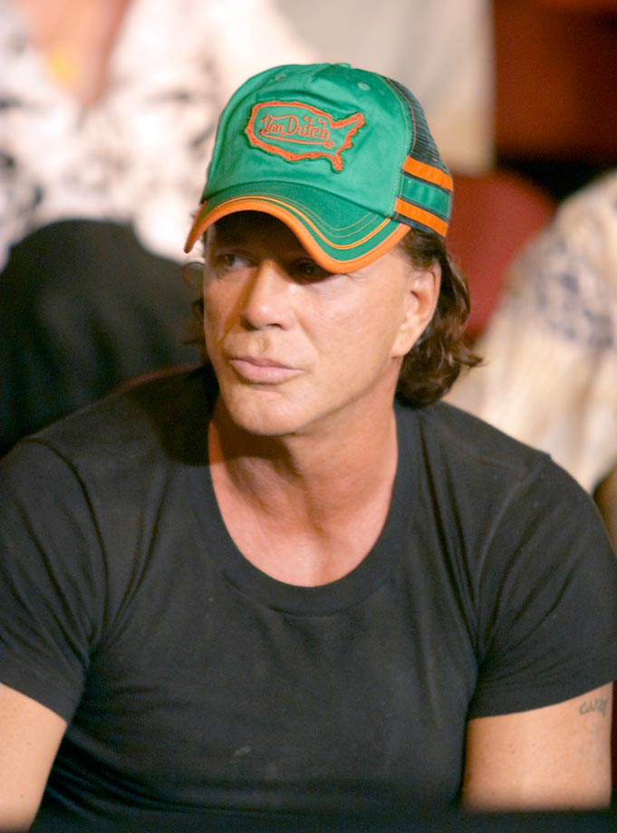 Micky Rourke visits the Warriors Boxing event at the new Seminole Hard Rock Casino in Hollywood, Fla.
