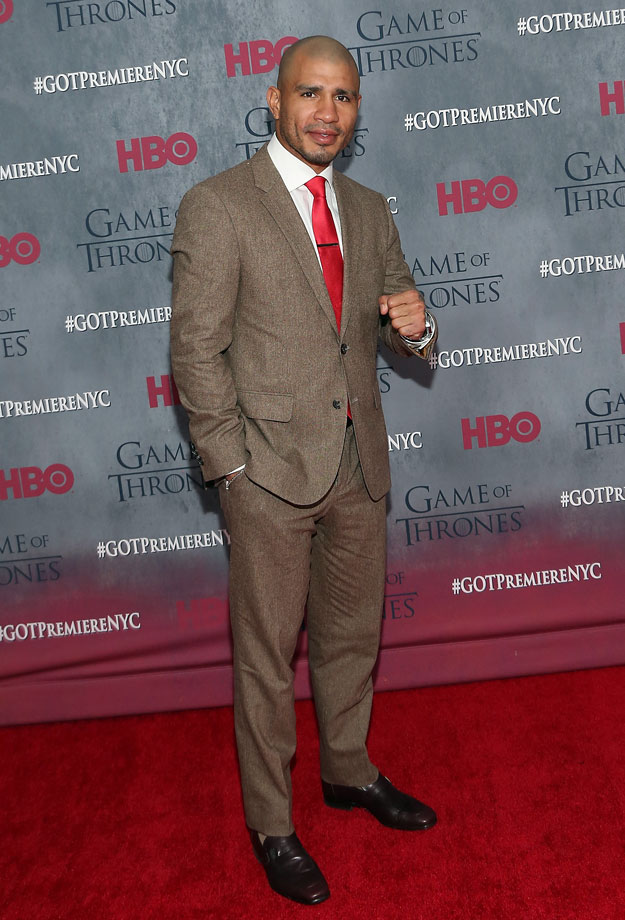 "Professional boxer Miguel Cotto attends the ""Game Of Thrones"" Season 4 Premiere at Avery Fisher Hall, Lincoln Center on March 18, 2014 in New York City."