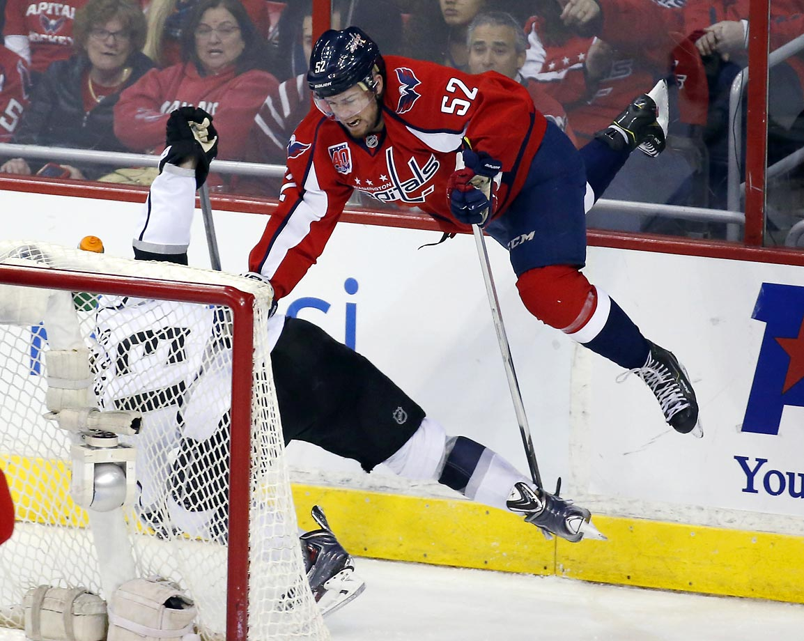 Mike Green of the Washington Capitals is sent airborne by Kyle Clifford of the Los Angeles Kings. The Capitals won 4-0.