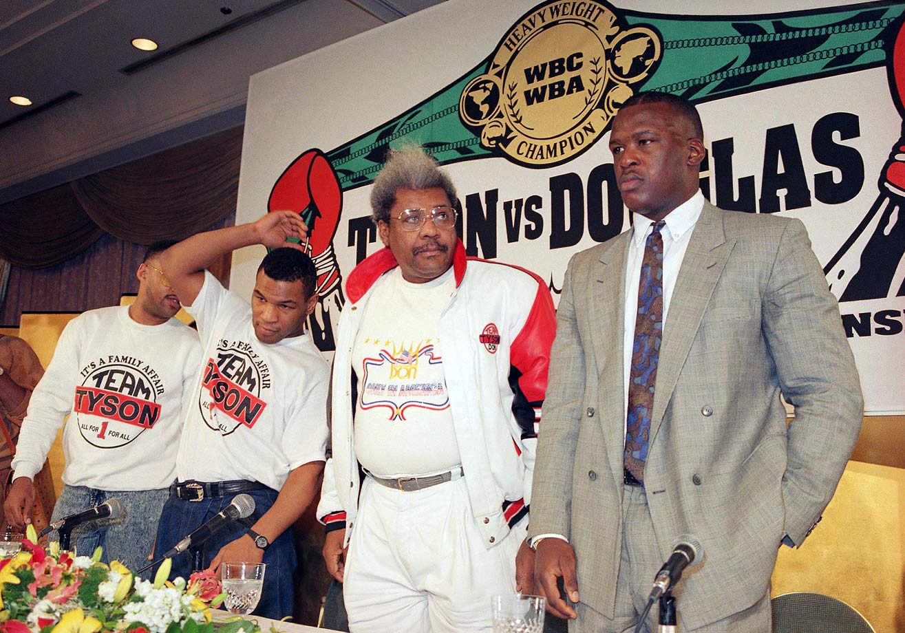 Promoter Don King, who had gained control over Tyson's career two years earlier, stood between the clearly uninterested champ and his sharply dressed challenger at a news conference in Tokyo, three days before the fight. Most of the press on hand figured it would be Buster's one moment in the limelight.