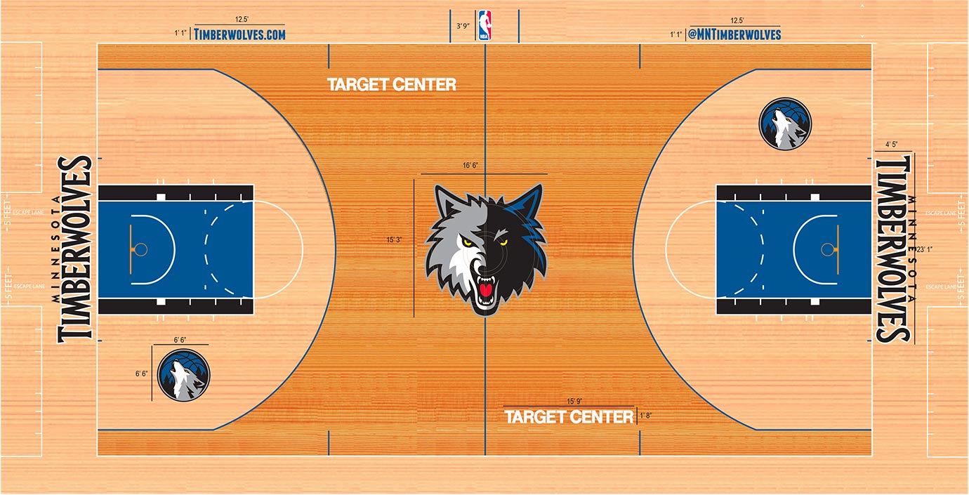 The mid-2000s rise of the two-tone stain lives on in all its contrast in Minnesota. The Timberwolves maintain a dark stain outside the 3-point lines and a light stain inside. The difference is so drastic that they don't play well with each other. Adding in the light stain on the baseline and apron areas doesn't help.