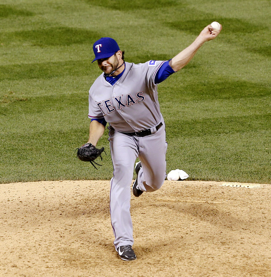 The Rangers' most effective pitcher in a 12-1 loss to the Rockies was actually an outfielder. To save his bullpen given the lopsided score, manager Ron Washington sent Mitch Moreland to the mound for the eighth. Moreland set the Rockies down in order, tossing around 94 mph. It was the first time Moreland pitched since 2008 , in a minor league game.