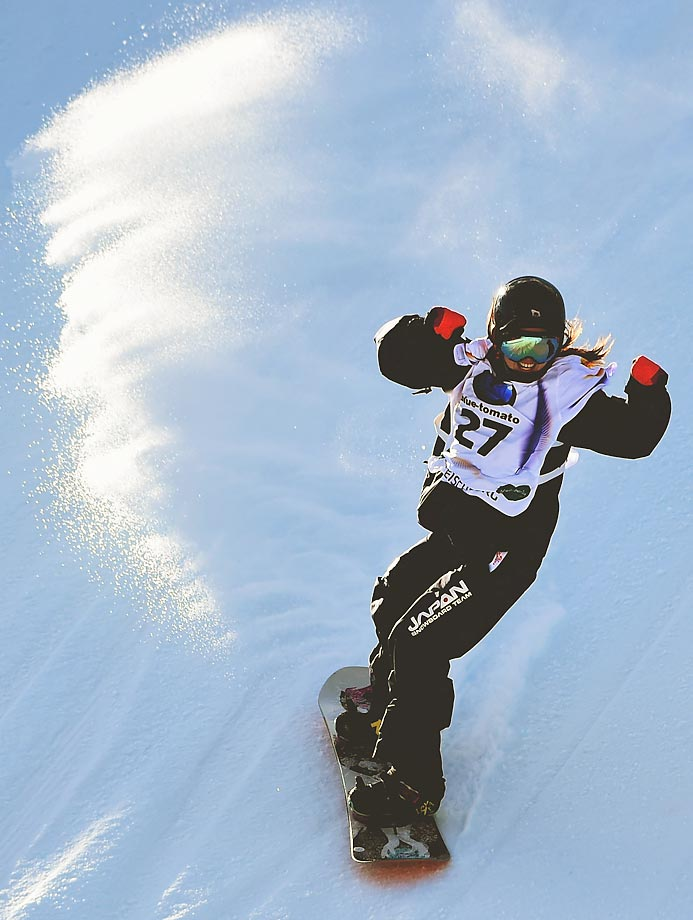 Miyabi Onitsuka of Japan celebrates after finishing a run at the snowboard slope style final in Kreischberg, Austria.