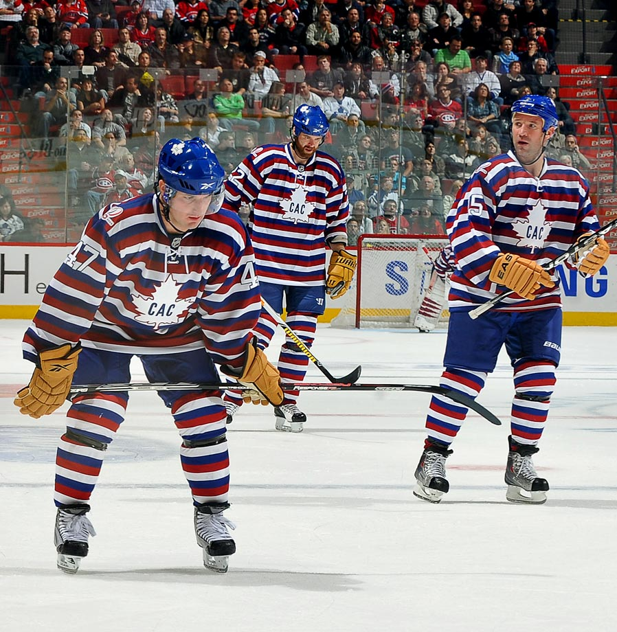 "In 2009, Montreal wore ""barber pole"" retro third jerseys featuring the distinctive look of narrow red, white and blue horizontal bands used by the team in 1912-13."